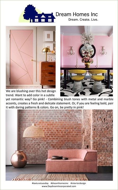 We're blushing about this new trend #TextureTuesday #DreamHomesInc #DayDreamDesigns #InteriorDesign