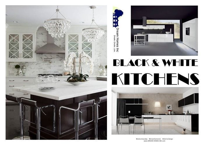 """Emerging from Europe in the past couple of years, the use of black in kitchens is ultra modern, ultra hot.  Black with White adds a classic aesthetic to the mix, and makes it much easier for many homeowners to """"stomach"""".  High contract, bright surfaces juxtaposed with deep, elegant, low sheen elements combine for the ultimate in elegant, high style kitchen design.  What other colors would you add to make it your own? #TextureTuesday #DreamHomesInc #InteriorDesign"""