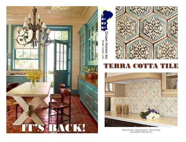 Terra Cotta tile is back, and better than ever!  Its handmade nature and earth tone provides a warmth wherever you use it -- in the kitchen, bathroom or any living space. The traditional clay color plays well with blue, which is one of the predicted Pantone hot color combinations of 2018!  See how cool you are!?! #TextureTuesday #DreamHomesInc #InteriorDesign