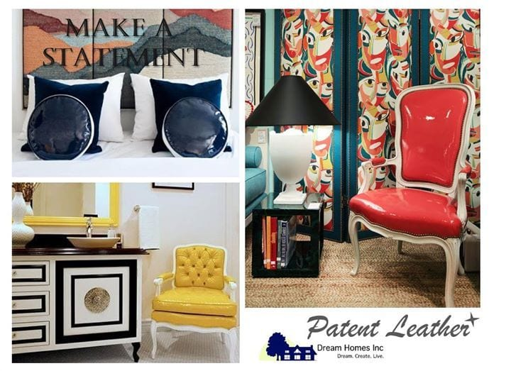 """Talk about a """"shiny new year""""!  Patent leather is about the be the star of 2018.  As this trend takes hold in high fashion, so too will it rise to the top as a alternative to glitter and metallic for a touch of shine in your home. Whether its an accessory or a full on sofa or chair, integrating this rich and modern material adds just the right amount of flair you've been looking for! #DreamHomesInc #DaydreamInc #InteriorDesign #PatentLeather #Design #Gloss #Glamour #Modern #NewYear #2018"""