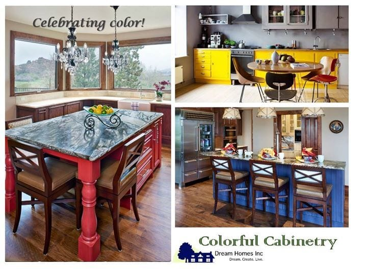 """Though white kitchens are still (and will continue to be!) a trend, color is finding its way back in some very exciting ways. Bold, saturated hues in cabinets, tile and wall color bring a fresh take to a monochromatic landscape. It's fresh and long-lasting at the same time! Here are some opportunities clients have given us to """"Go Bold!"""" And then go home... #DreamHomesInc #DaydreamInc #TextureTuesday #InteriorDesign #Cabinets #ColorfulCabinetry #PopofColor #Design"""